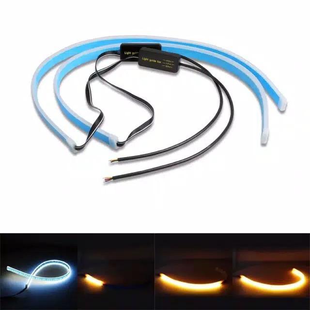 Lampu alis Drl flexibel Slim 60 Cm Waterproof 2 Pcs Sepasang R054