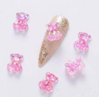 Pink Nail resin bear charm
