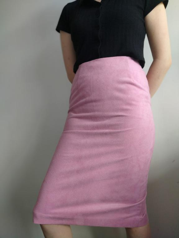 Pink faux suede skirt