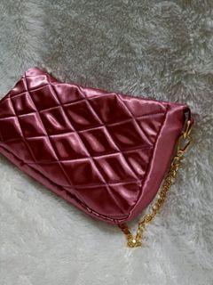 Pink Satin Shoulder Bag