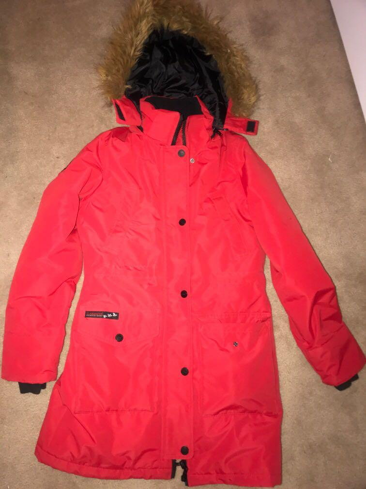 Red Canadian weather gear jacket