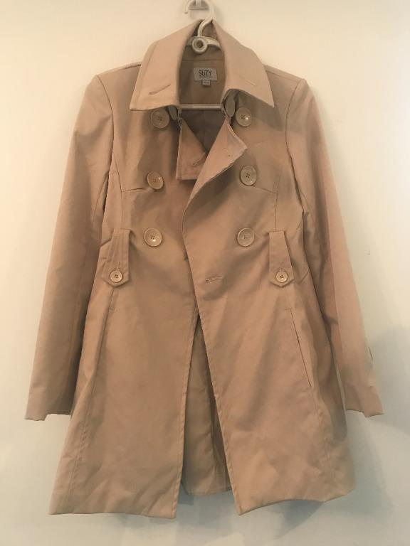 Suzy Shier Cream Trench Coat Size XS