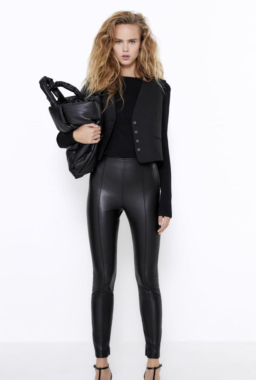 Zara high waisted faux leather leggings