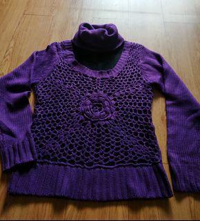 紫色高領毛衣