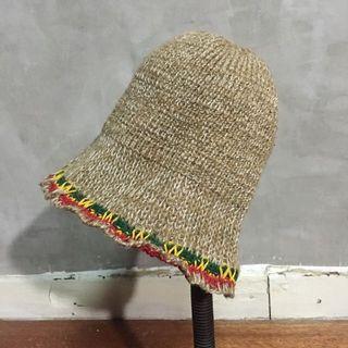 大地色系棉麻毛線帽