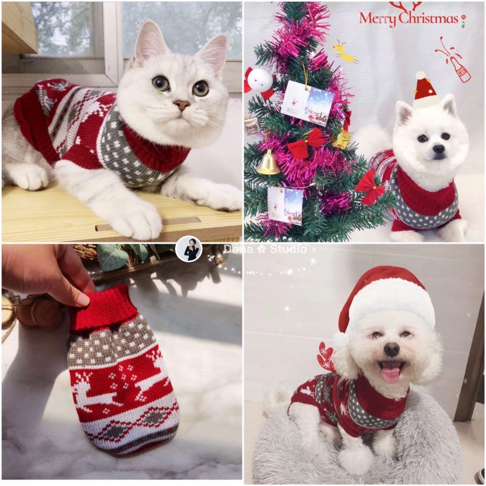 貓狗聖誕新年套裝寵物服裝寵物衣服。