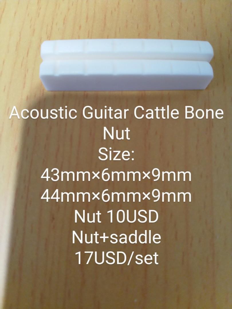 [Brand New 全新] Acoustic/Classic Guitar Cattle Bone Nut+saddle 民謠古典吉他牛骨上下弦枕 wooden guitar 木吉他
