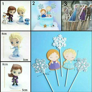 Frozen Theme Elsa and Anna figurine/ Cupcake toppers