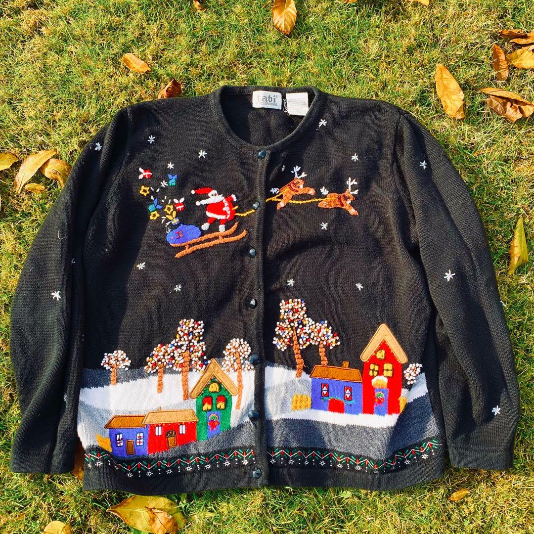 Kawaii Black Christmas Sweater with Santa and Snow
