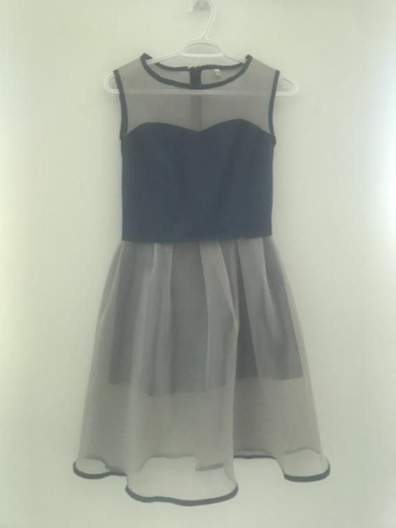 Mesh Dress Navy Grey Size Small