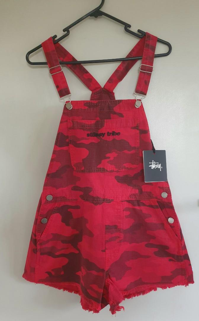 Stussy red camo overalls