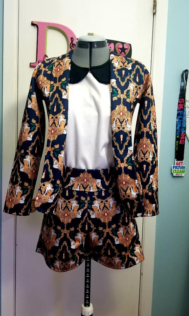 2pc Printed Blazer with Shorts