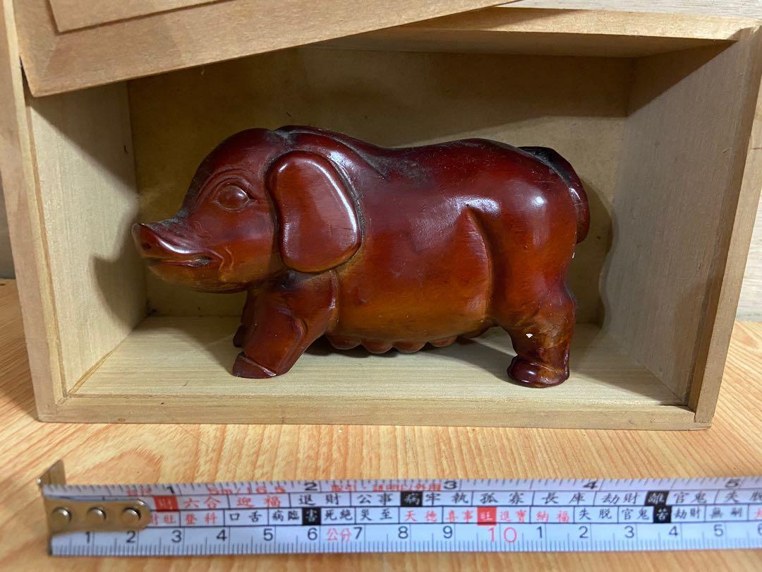 古色古香-紅木小豬桌上擺飾/木頭/裝飾