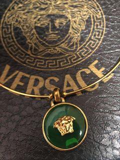 古董 早期 VERSACE 凡賽斯 義大利精品 項鍊 祖母綠 奢華 洗鍊 金 質感