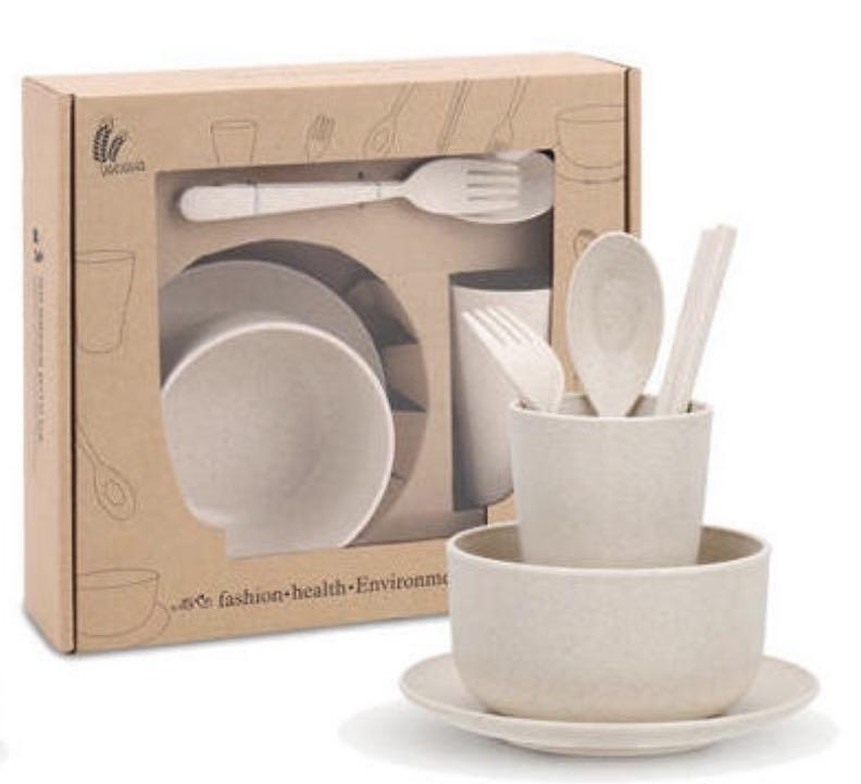 Bio degradable wheat fibre cutlery set bpa free unbreakable