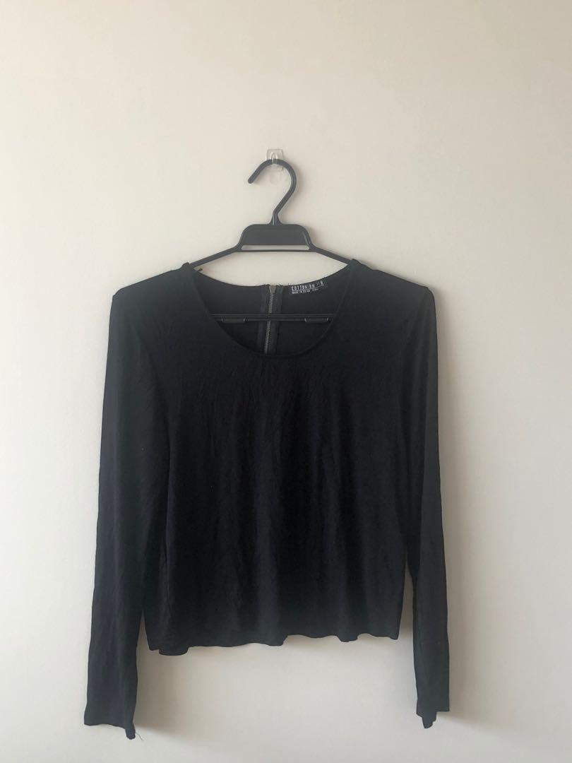 Black cotton on zip shirt