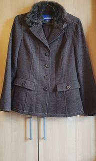 BURBERRY BLUE  LABEL  深棕色毛料毛領復古西裝外套