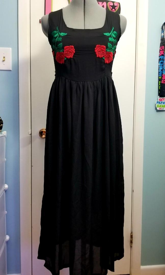 Chiffon Embroidered Maxi Dress