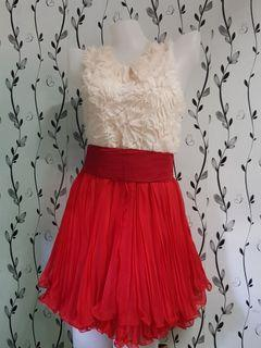 Cream & Red Cocktail Dress