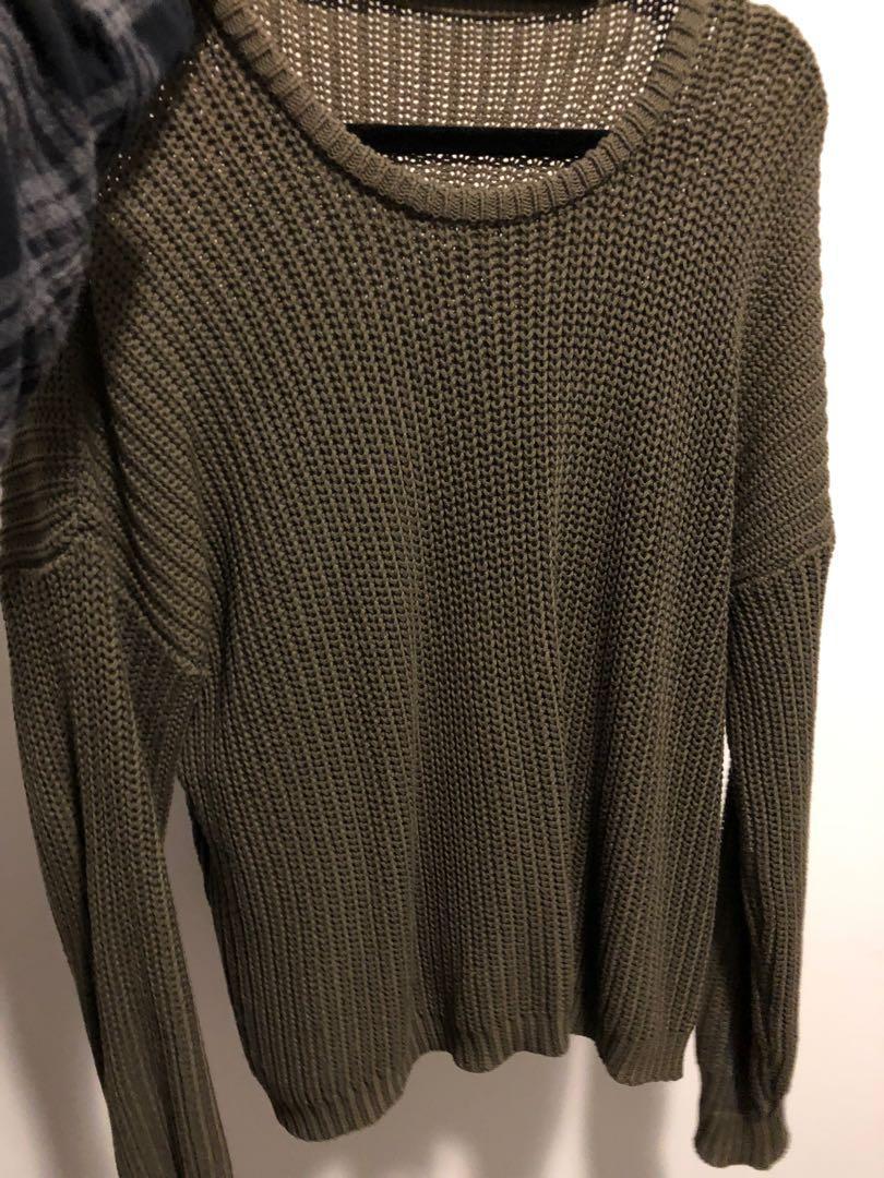 Dark green knit sweater