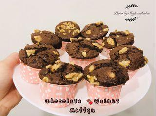 Double chocolate chips walnut muffin