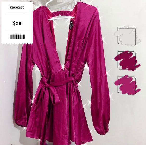 Fashion Nova Shiny Magenta Romper (Sz XL)
