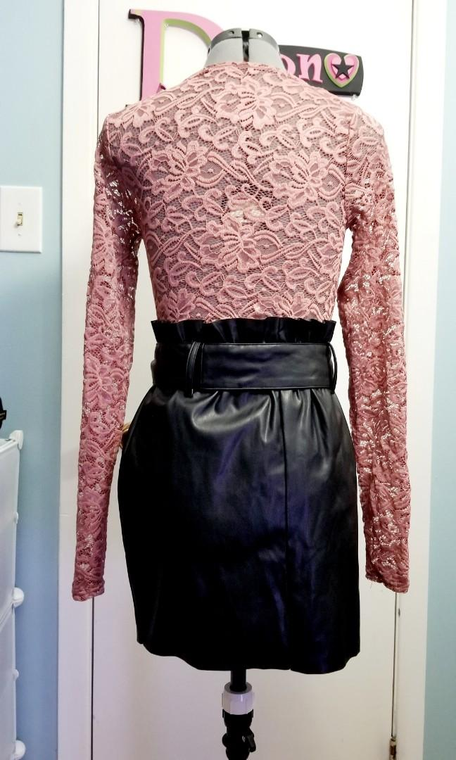 Lace Top and Leatherette Skirt