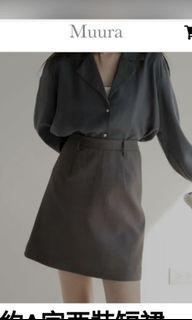 Muura  灰色 韓系 A字西裝短裙