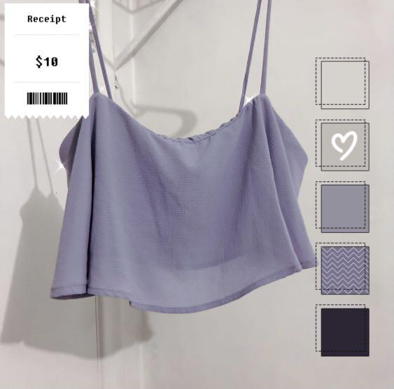 Purple Flowy Crop Tank (Sz L)
