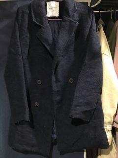 Queen Shop 深藍 西裝 毛呢 大衣 外套 #保暖