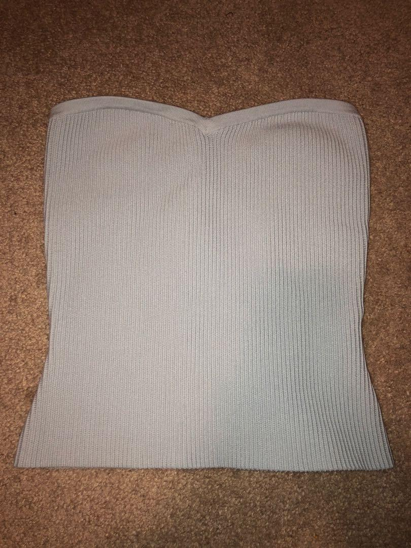 strapless baby blue top from aritzia
