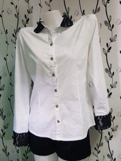White with black lace longsleeves