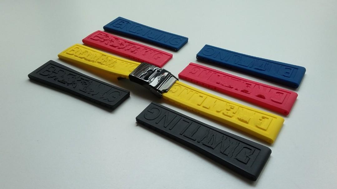 22mm & 24mm OEM BLACK VULCANISED RUBBER  STRAP WITH NEW VERSION QUICK RELEASE CLASP FOR BREITLING (PRICE INCLUDES FITTING)