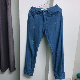 Meierq 牛仔修身直筒褲 褲管可反摺 原價590元