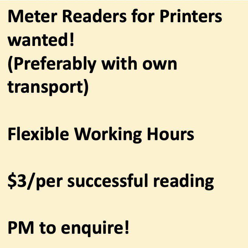 Meter Readers with own motorbike wanted - EST $100++/day