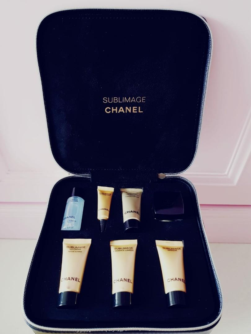 Authentic Chanel Top range Sublimage full set skincare toner serum moisturizer mask in chanel leather organiser travel pouch bag (calculate by ml)