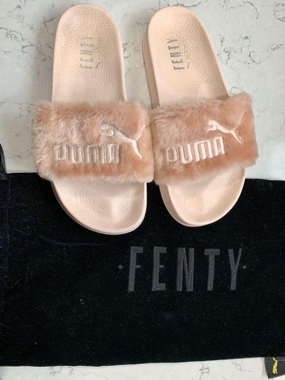 *RARE* Limited Edition FENTY X PUMA Pink Fur Slides
