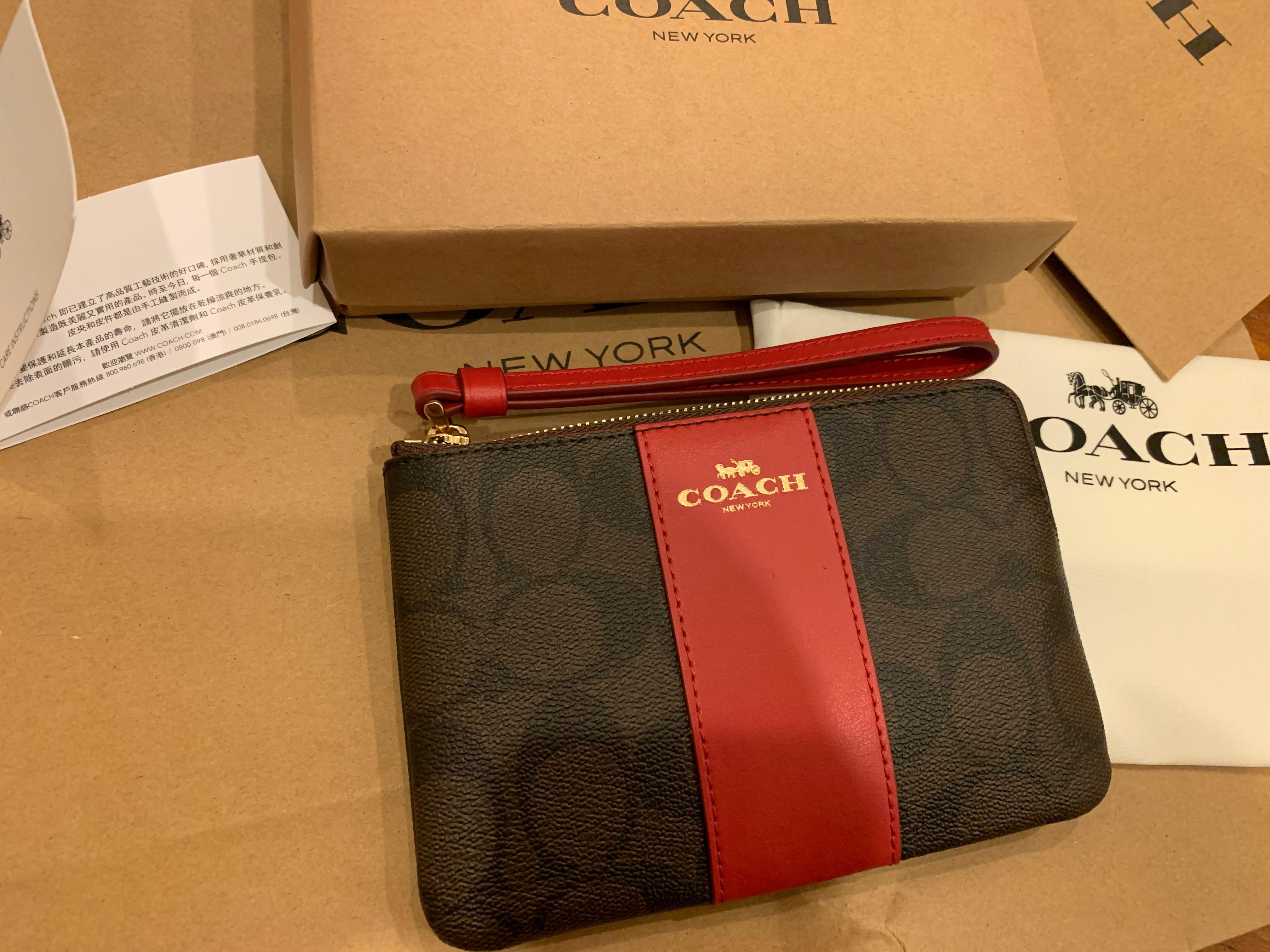 Ready stock authentic coach women Wrislet F58035 coin pouch bag in red