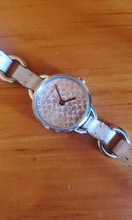 Coach ivory thin leather strap watch