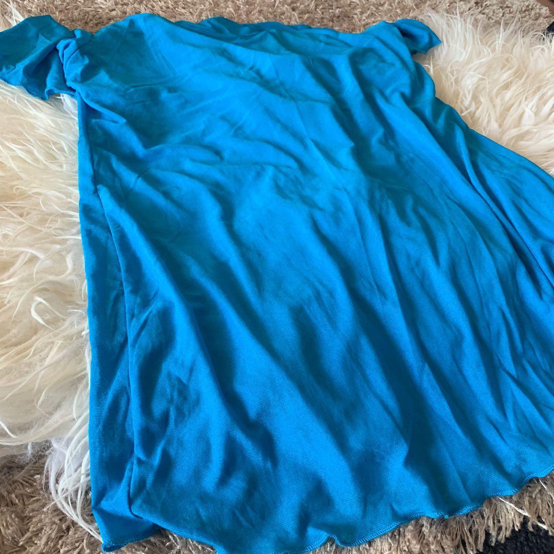 electric blue mesh top