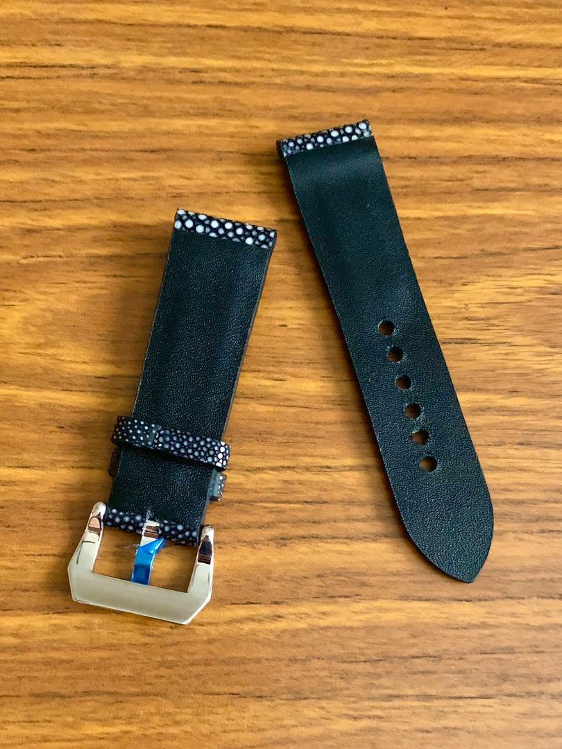 24mm/22mm Authentic Onyx Black Stingray (polished stones) Leather Watch Strap - (only one piece, once sold no more 😊) (Standard length: L-120mm, S-75mm)