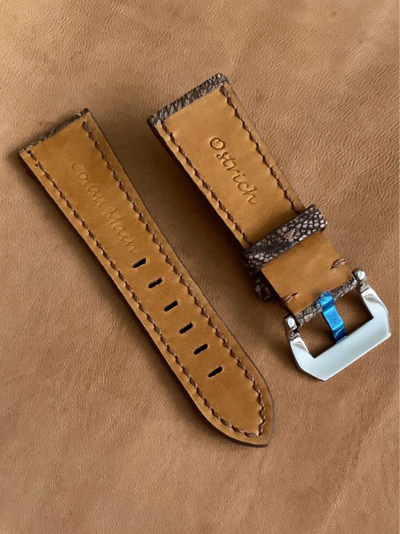 26mm/22mm Very Unique Pecan Brown Authentic Ostrich Leg NUBUCK texture-tanned Watch Strap - 26mm@lug/22mm@buckle   (Length- L:120mm, S:75mm) (only 1 piece 👍🏻😊- once sold, no more )