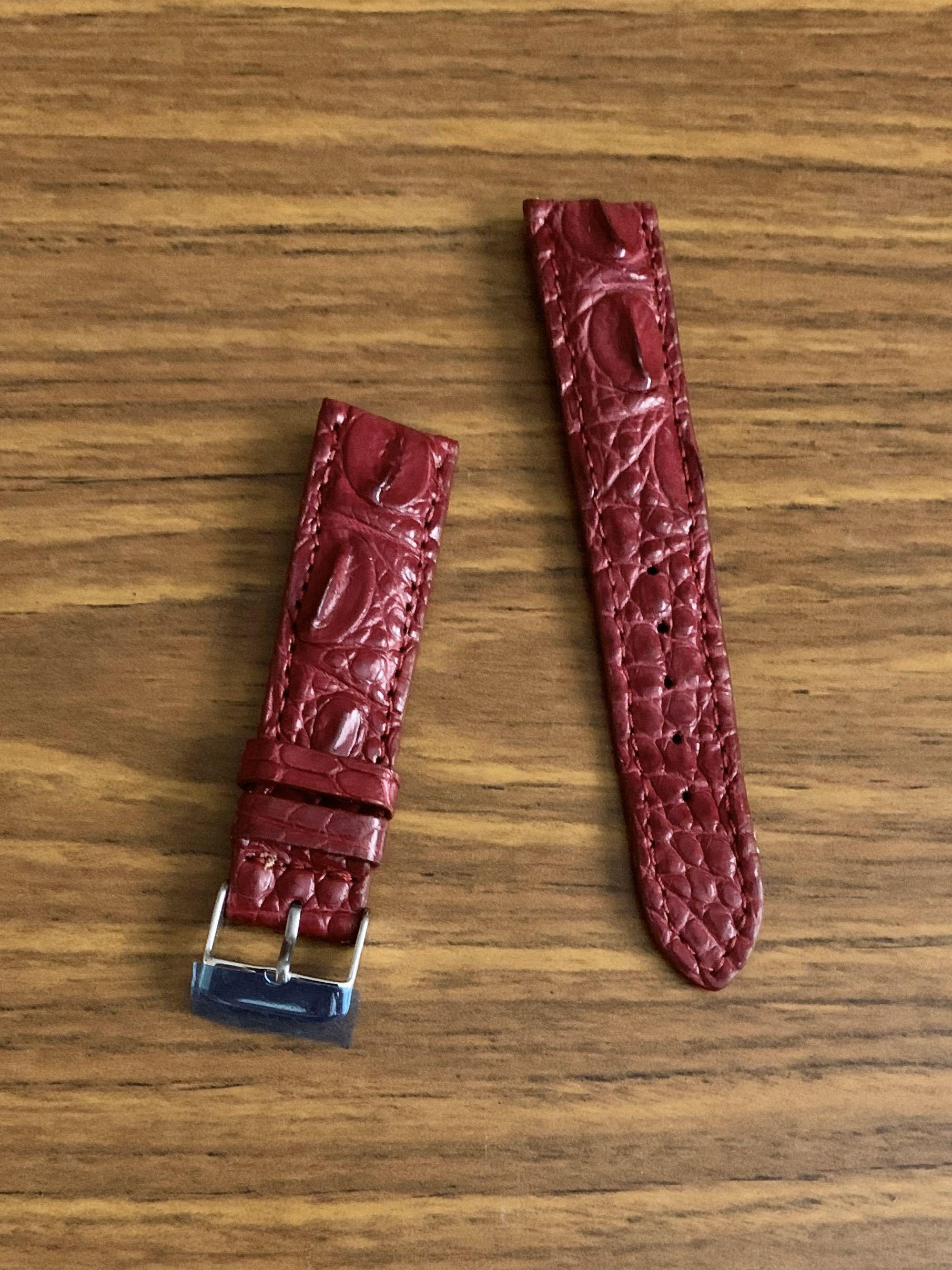 """[DISCOUNTED] 20mm/18mm Authentic """"Hornback-croc belly edge"""" Classy Burgundy Brown Crocodile 🐊 Alligator Watch Strap  (full of character, last piece in burgundy!!  -once sold no more😊) Standard Length- L:120mm S:75mm"""