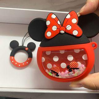 全新現貨 超特別流沙款 可愛米奇米妮 米奇老鼠 Mickey Mouse Minnie Mouse AirPods case 1/2 AirPod 保護套 蘋果藍牙耳機 附送指扣