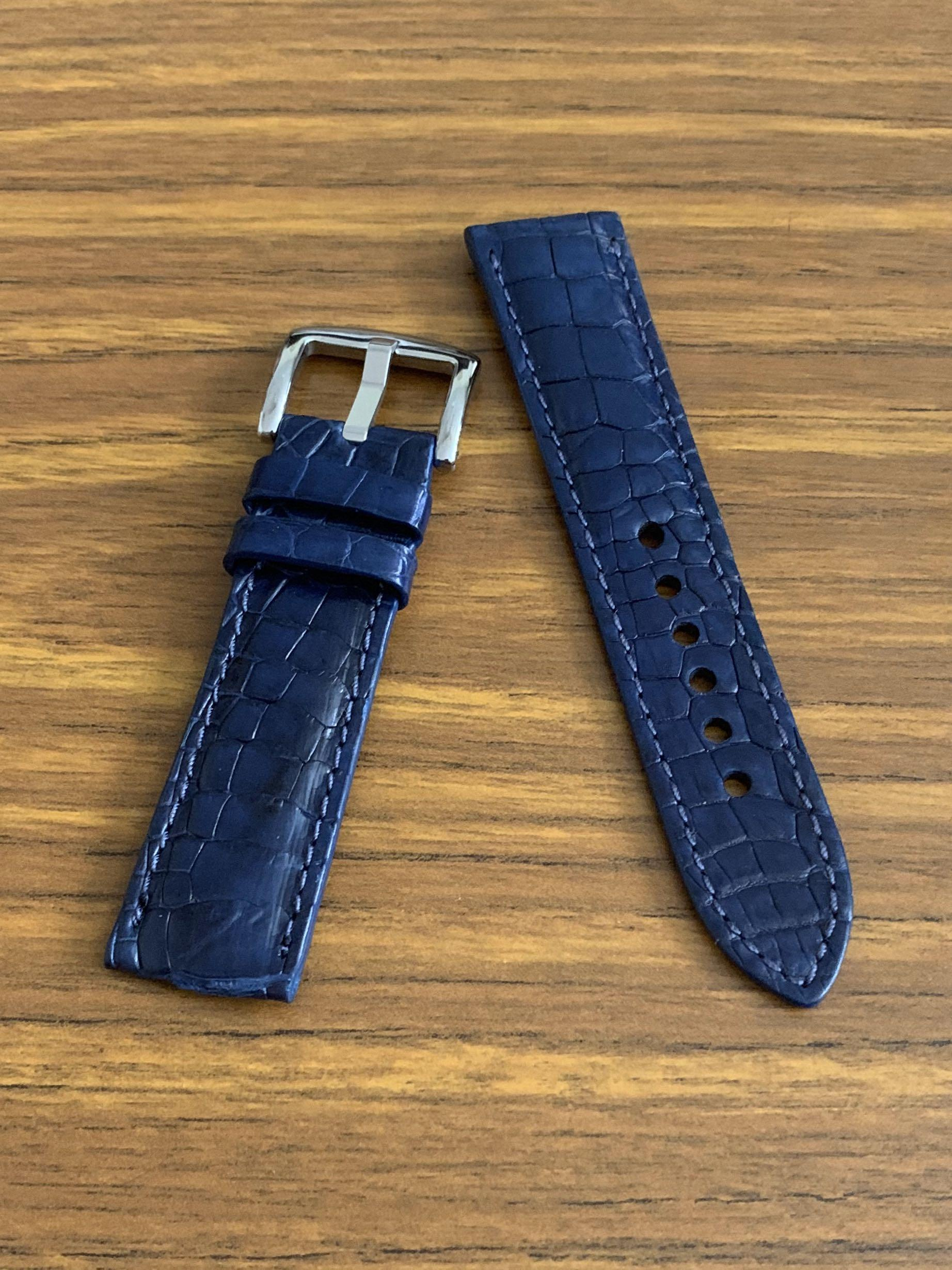 [DISCOUNTED] 22mm/20mm Authentic Monaco Blue Crocodile 🐊 Alligator Watch Strap - (multi-tiled grains - gorgeous croc grains, only one like this, once sold no more!! 👍🏻😊)     Standard length- L:120mm S:75mm - LAST SUCH PIECE- CB SALE!!😊