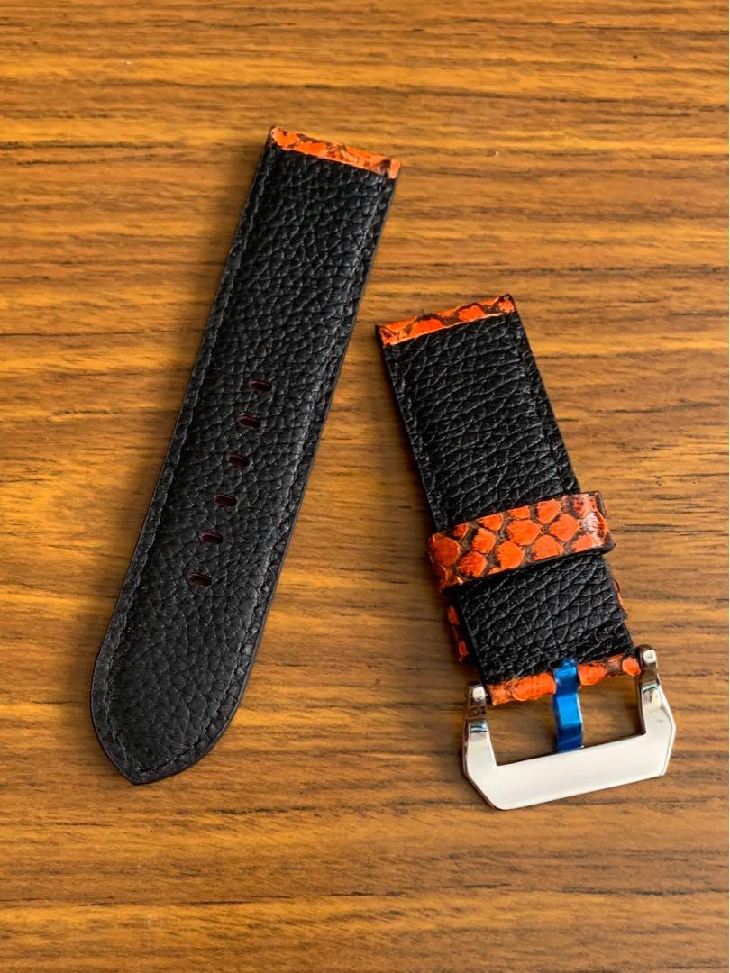 [DISCOUNTED] 26mm/26mm Authentic Volcanic Lava Red Black Python 🐍 Snake Watch Strap - (only one piece, once sold no more 🙏🏻😊) (Standard length: L-125mm, S-75mm)