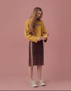 配色織帶拼接蕾絲裙(黃小米聯名款)