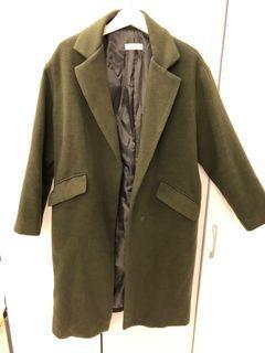 韓國帶回 深墨綠色落肩大衣外套
