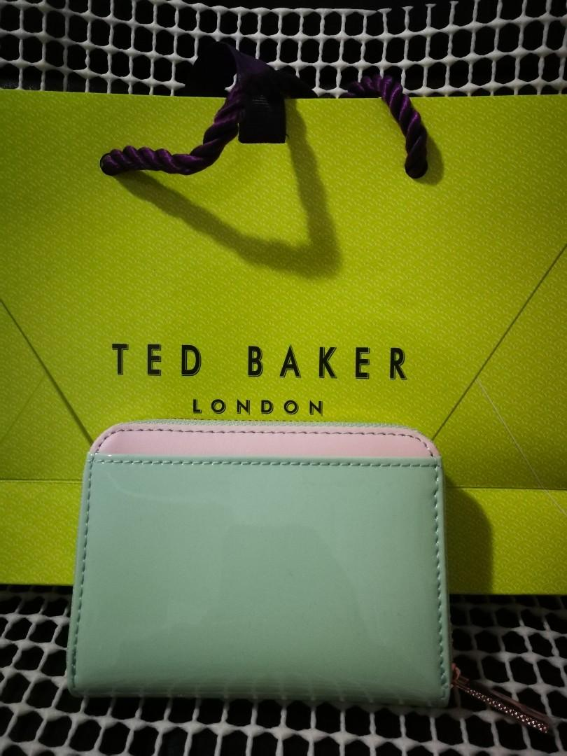BRAND NEW TED BAKER OMARION PATENT ZIP AROUND COMPACT WALLET
