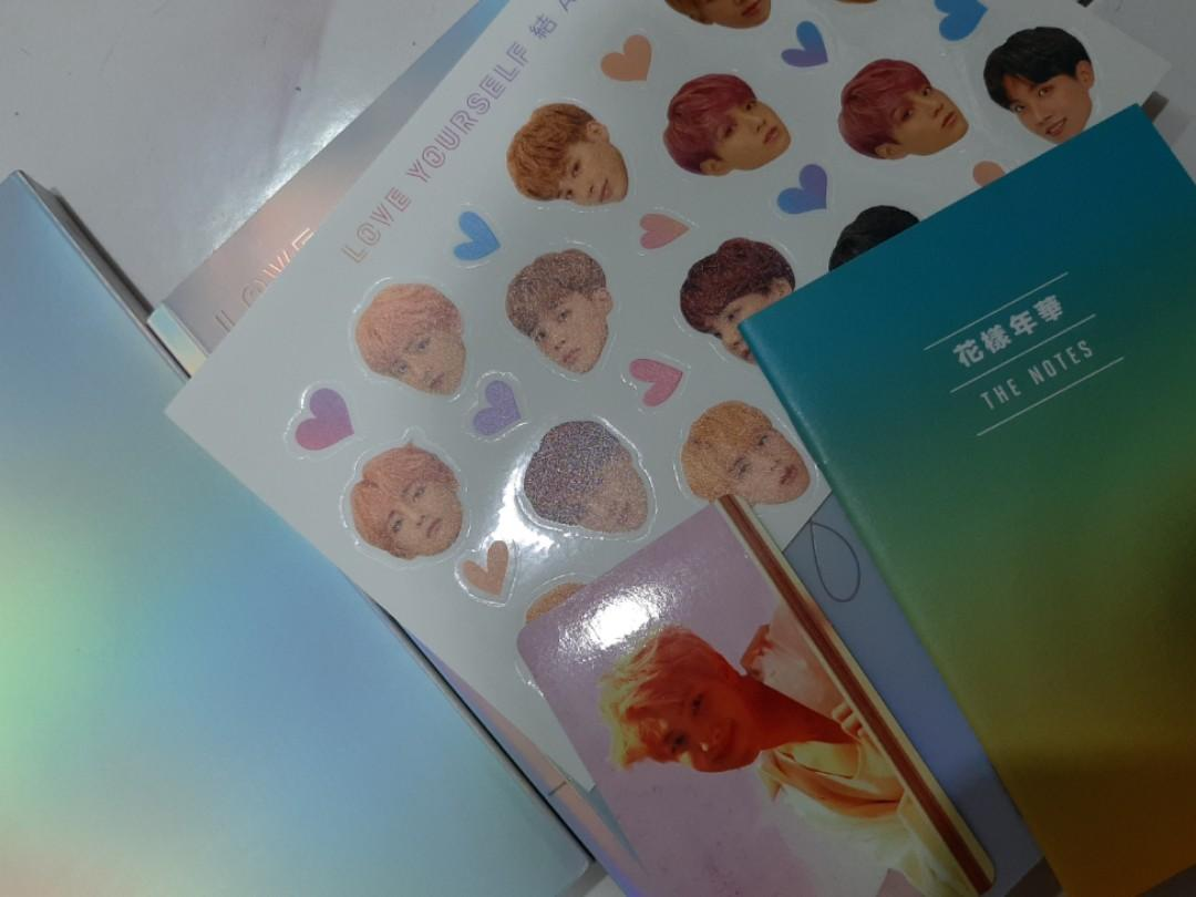 BTS LOVE YOURSELF ANSWER E VERSION STICKER, THE NOTES AND RM NAMJOON PHOTOCARD